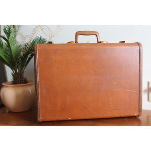 vtg 1960s samsonite brown leather suitcase
